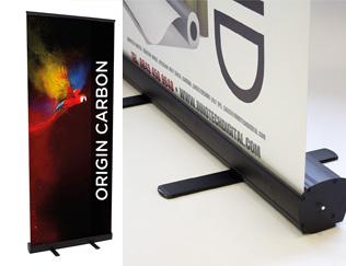 Carbon Black Roller Banner Stand