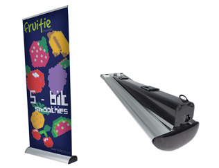 Merlin interchangeable graphic roller banner stand with easy cassette