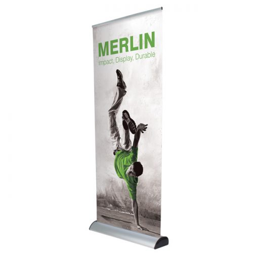 Merlin interchangeable graphic roller banner stand with cassette